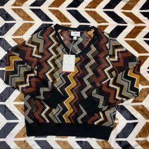 NWT Missoni X Target Sheer Chevron V-Neck Top (S)